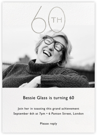 Decade Photo (Sixty) - Silver - Paperless Post - Adult Birthday Invitations
