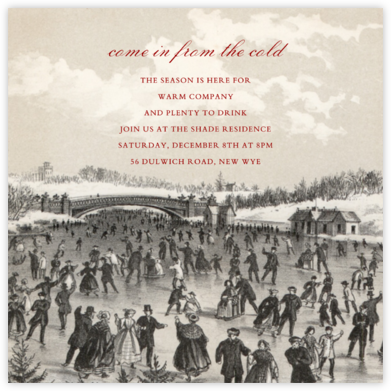 Central Park Skating (Square) - John Derian - Holiday invitations