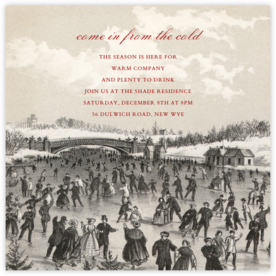 Central Park Skating (Square) - John Derian - Winter Party Invitations
