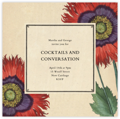 Derian Poppies (Square) - John Derian - Engagement party invitations