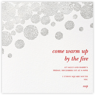 Radiant Swirls (Square) - Silver - Oscar de la Renta - Holiday invitations