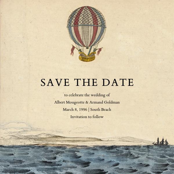 Hot Air Balloon - Red/Blue - John Derian - Retirement invitations, farewell invitations