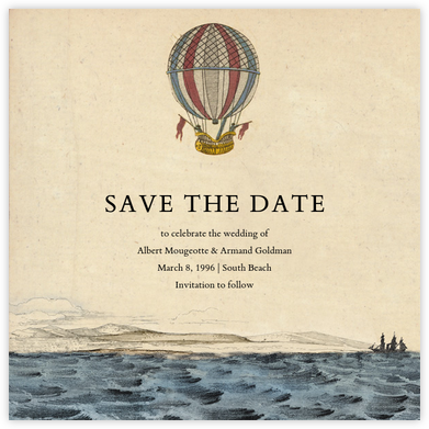 Hot Air Balloon - Red/Blue - John Derian - Professional party invitations and cards