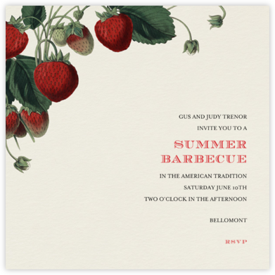 Strawberries (Square) - John Derian - Summer Party Invitations