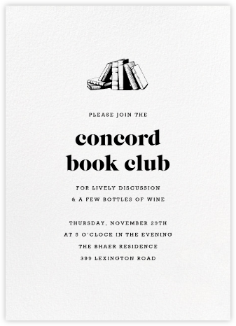 White (Tall) - Paperless Post - Book club invitations