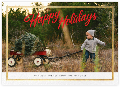Holiday Trim (Horizontal) - Gold - Paperless Post - Holiday Cards