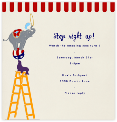 Circus Pyramid - Paperless Post - Kids' Birthday Invitations