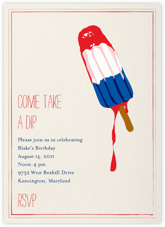 Melting Rocket Ship - Lipstick - Mr. Boddington's Studio - Birthday invitations