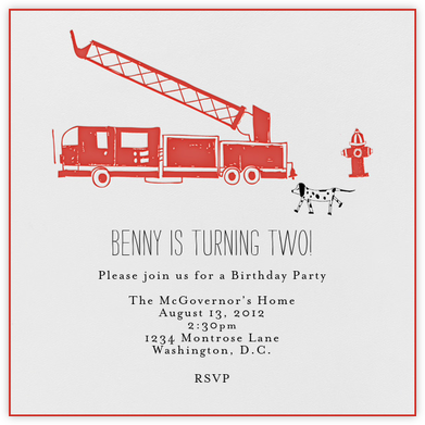 Kids Love Fire Engines - Mr. Boddington's Studio - Birthday invitations