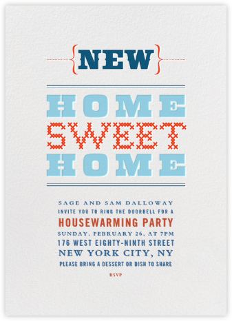 New Home Sweet Home - Crate & Barrel - Housewarming party invitations