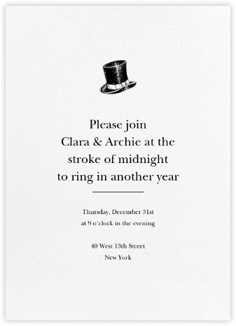 Blanc (Tall) - Paperless Post - New Year's Eve Invitations