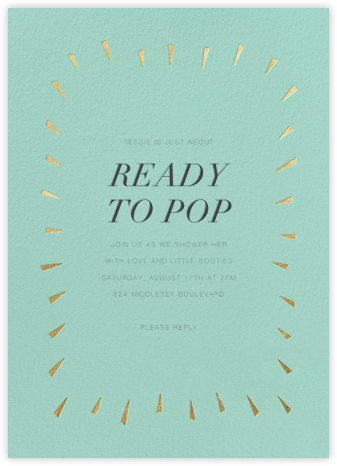 Éclat - Celadon/Gold - Paperless Post - Baby Shower Invitations