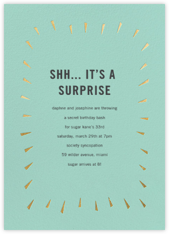 Éclat - Celadon/Gold - Paperless Post - Adult Birthday Invitations