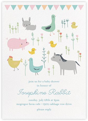 Farmyard Family - Little Cube - Baby Shower Invitations
