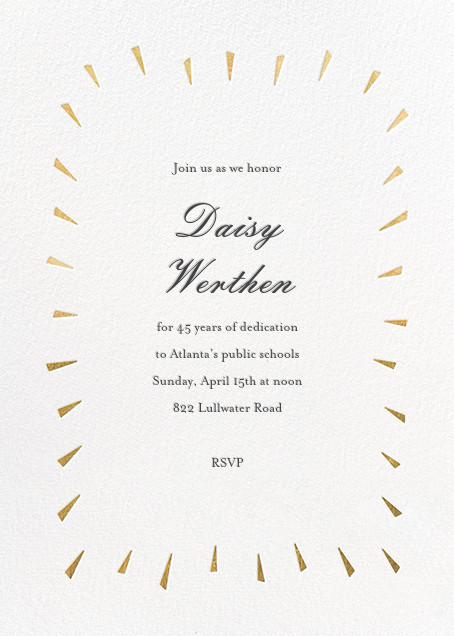 Éclat - White/Gold - Paperless Post - Retirement invitations, farewell invitations