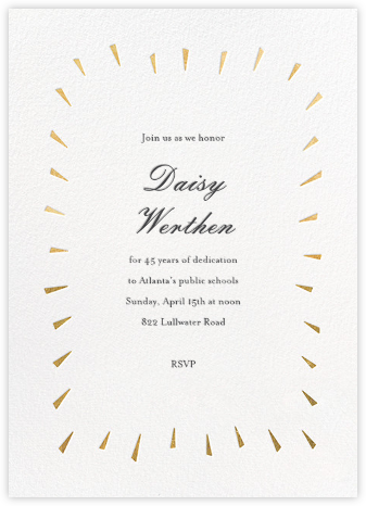 Éclat - White/Gold - Paperless Post - Retirement Invitations