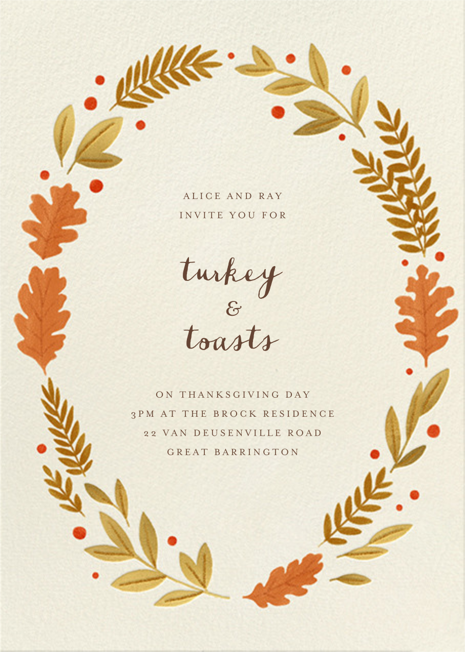 Autumnal Wreath - Paperless Post - Thanksgiving invitations