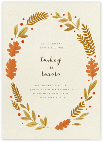 Autumnal Wreath - Paperless Post - Fall Entertaining Invitations