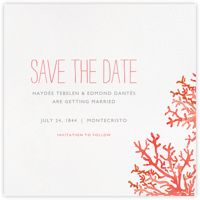 Beach Coral - Paperless Post - Wedding Save the Dates