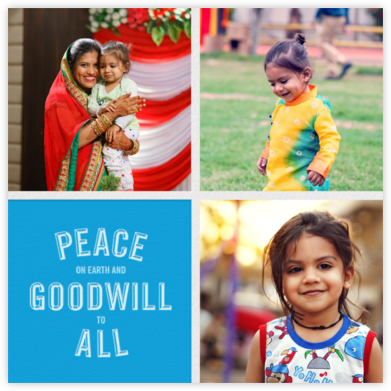 Peace and Goodwill (Multi-Photo) - Blue - Paperless Post -