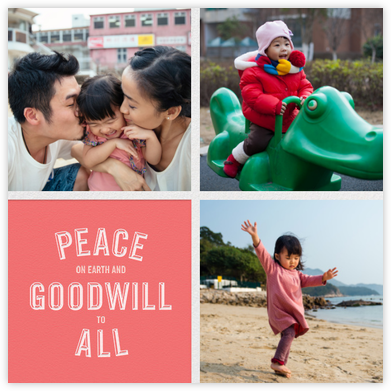 Peace and Goodwill (Multi-Photo) - Pink - Paperless Post - Holiday cards