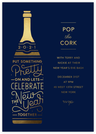Pop Your Cork - Paperless Post - New Year's Eve Invitations