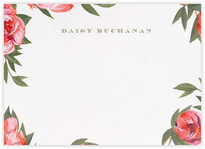 Red Peony Border - Paperless Post - Personalized Stationery