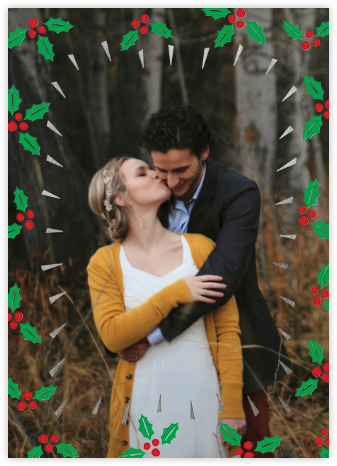 Holly Glow (Photo) - Silver - Paperless Post -