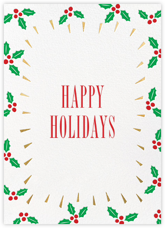 Holly Glow - Gold - Paperless Post - Holiday Cards