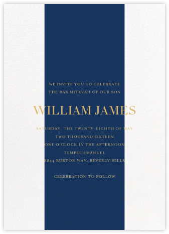 Classic Stripe - Dark Blue - Sugar Paper - Bar and Bat Mitzvah Invitations