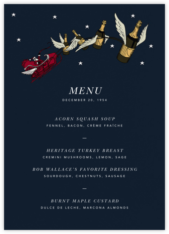 Champagne Sleigh (Menu) - Paperless Post -