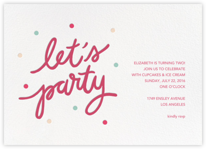 Party Script (Horizontal) - Rhubarb - Sugar Paper - Online Kids' Birthday Invitations