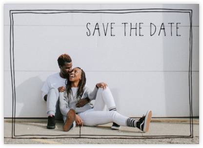 Double Hand-Drawn Border (Save the Date) - Black - Linda and Harriett - Save the dates