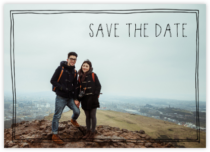 Double Hand-Drawn Border (Save the Date) - Black - Linda and Harriett - Photo save the dates