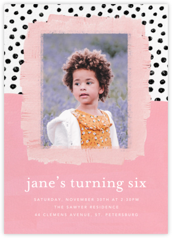 Dotscape - Pink - Ashley G - Online Kids' Birthday Invitations