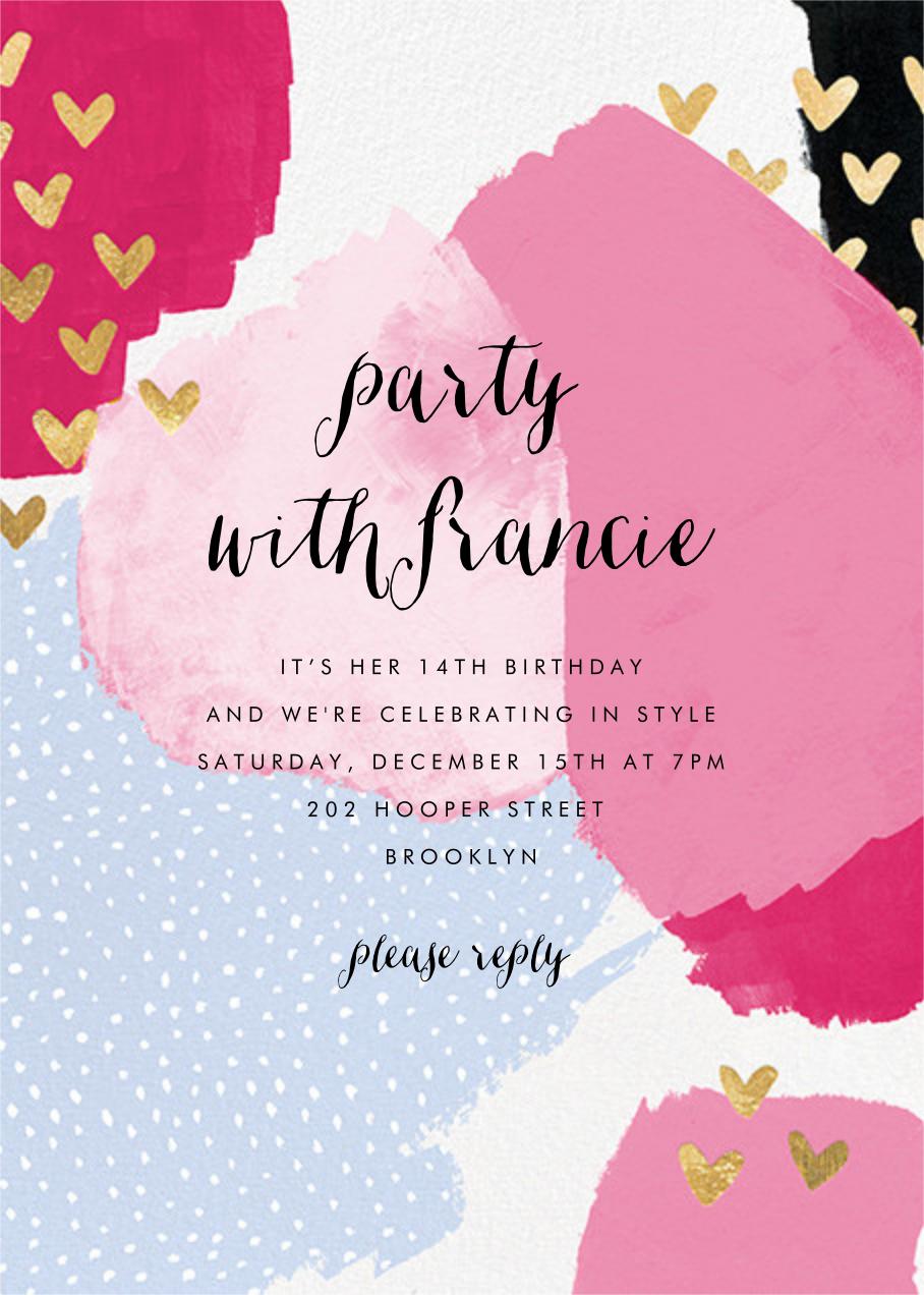 Hodgepodge Hearts - Pink - Ashley G - Kids' birthday invitations
