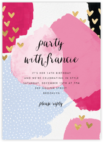 Hodgepodge Hearts - Pink - Ashley G - Online Kids' Birthday Invitations