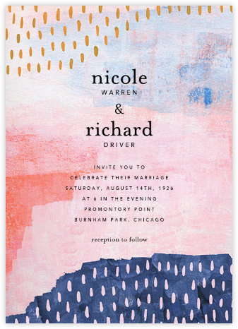Mural (Invitation) - Pink - Ashley G - Wedding Invitations