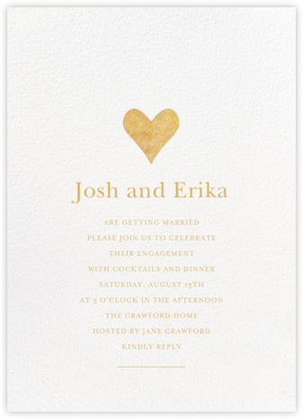 Luminous Heart - White/Gold - Sugar Paper - Engagement party invitations