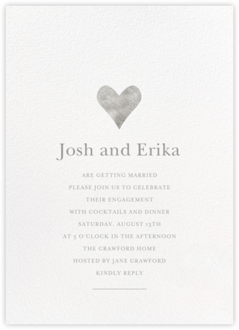 Luminous Heart - White/Silver - Sugar Paper - Engagement party invitations