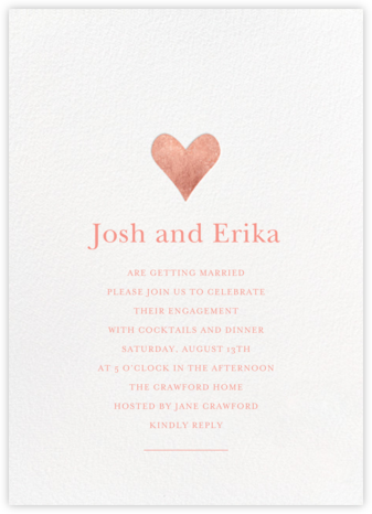 Luminous Heart - White/Rose Gold - Sugar Paper - Engagement party invitations