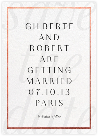 Imprint - White/Rose Gold - Paperless Post - Save the dates
