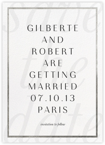 Imprint - White/Silver - Paperless Post - Save the dates