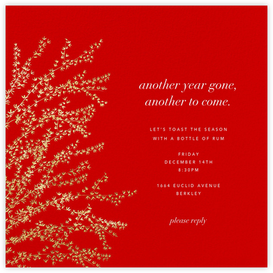 Forsythia - Red/Gold - Paperless Post - Holiday party invitations