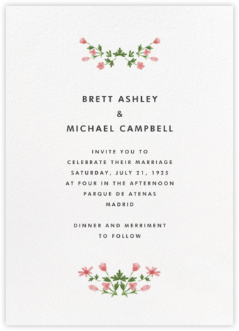 Floral Border (Tall) - Paperless Post - Online Wedding Invitations