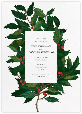 English Holly - Paperless Post - Professional party invitations and cards