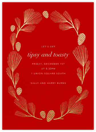 Sugar Pine - Red/Gold - Paperless Post - Winter Party Invitations
