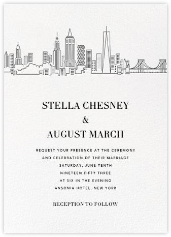 Manhattan Skyline View (Invitation) - White/Black | null