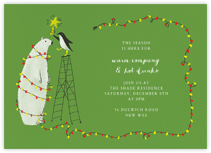 O Tannenbear (Horizontal) - Green - Paperless Post - Winter Party Invitations