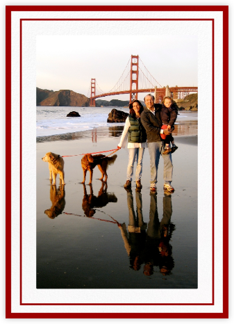 Double Border Photo (Tall) - White/Crimson - Paperless Post - Holiday cards